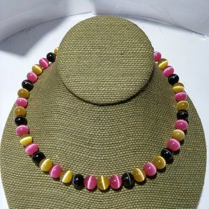 Women`s cats eye beaded wire necklace pink yellow